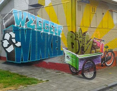 Anamorfose muurschildering WGW Utrecht