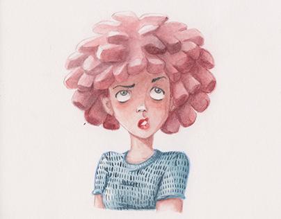 Watercolor Portrait of a Girl