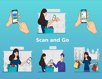 Illustrations for the application Scan and Go