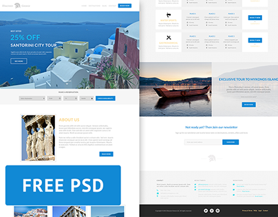 Discover Greece - Travel agency free PSD web template