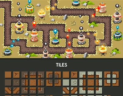 """Tower Defence Game Tile Set """"Desert"""""""