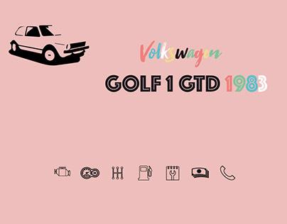 Affichette vintage Golf 1 GTD