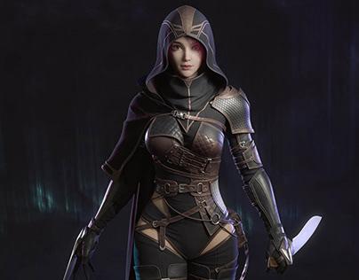 3DModel Fantasy Girl Game Character Fighter