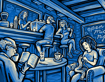 Open Mic Night - Panoramic Coffee Shop Illustration