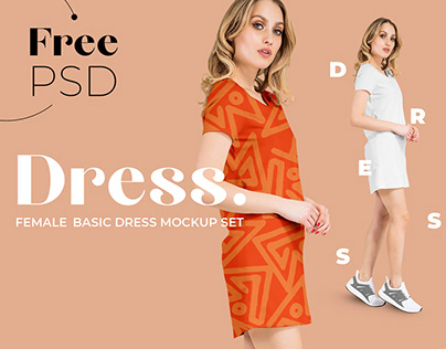 Free Basic Dress Mockup for Fabric Designers