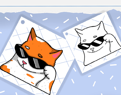 Print Cat with glasses