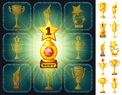 Set of golden cups, medals and rosettes. Vector.