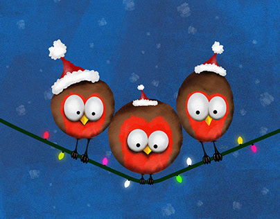 Balancing Christmas Robins