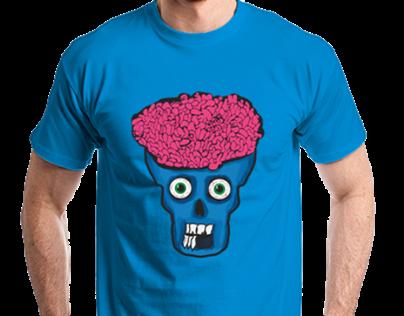 T-Shirt Skull Brain