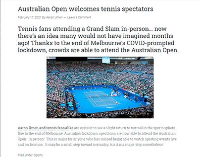Australian Open welcomes tennis spectators