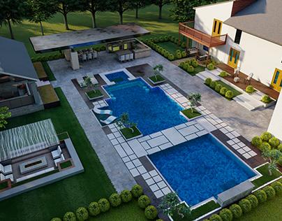 LANDSCAPE BACKYARD DESIGN OF LUXURY HOUSE 3D model