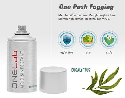 air disinfectant label, one push fogging