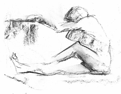 Expressive charcoal drawing