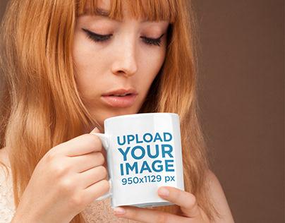 Coffee Mug Mockup Featuring a Cute Girl with Strawberry
