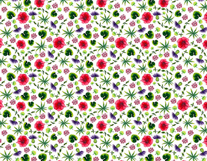Watercolor meadow flowers and leaves seamless pattern