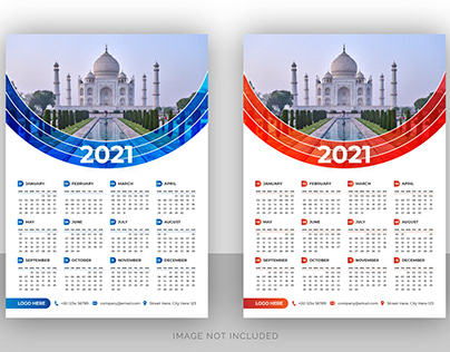 Single page wall calendar design for travel agency