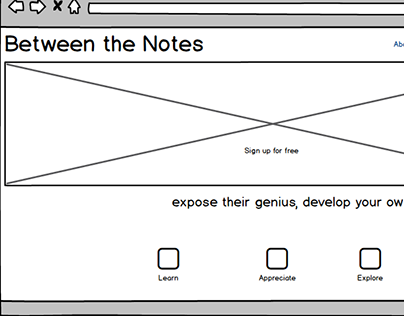 Between the Notes wireframe mockups