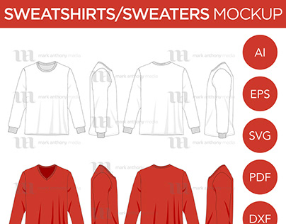 Sweatshirts & Sweaters - Mockup & Template Vector