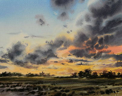 Drama in the sky. Watercolor painting.