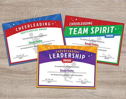Cheerleader Award Certificate Design Templates Ai & PDF