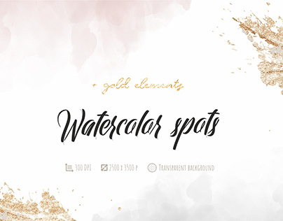 Watercolor spots and gold elements