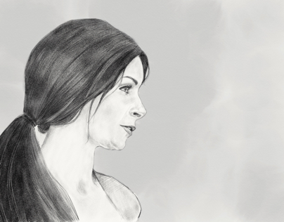 Sketch of Ashley in conversation