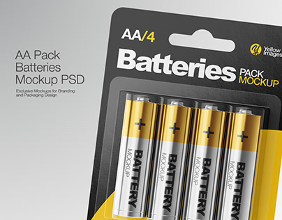 4 Pack Battery AA Mockup