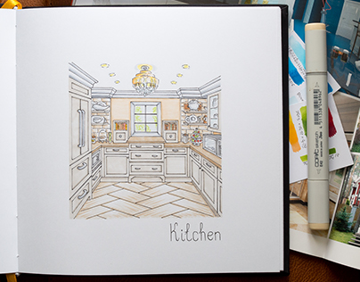 Home Interior Sketches #1 / Copic Markers