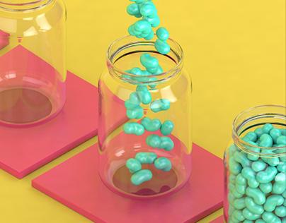 Jelly beans // C4D Skillshare class