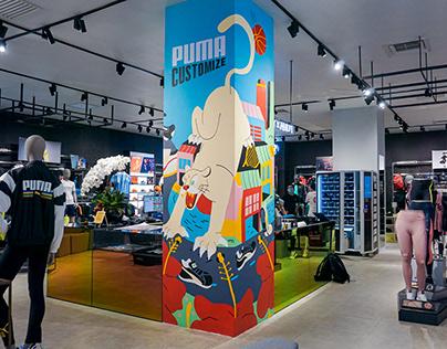 PUMA In Store Mural Illustration
