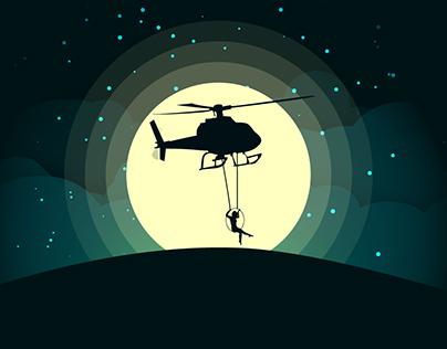 Silhouette Moonlight Vector Illustration