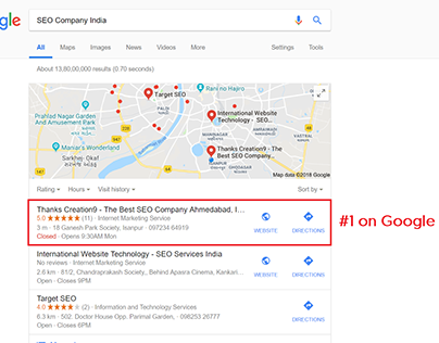 For SEO Company India Thanks Creation9 is ranking on #1