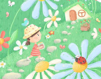 Flower garden. Children book illustration