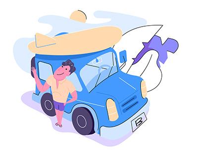 car rental website illustration