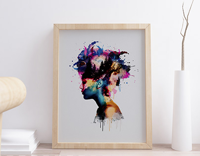 WaterColor Space Home Decor/Tshirt Design