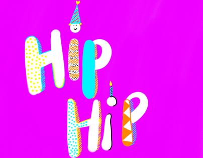 Hip Hip Hooray Lettering