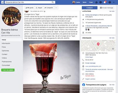 Post de Facebook e Instagram para Can Vila Boqueria