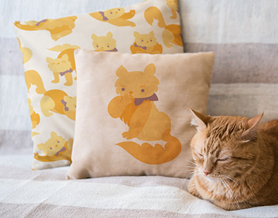 Illustrated home textiles with cats & birds – interior