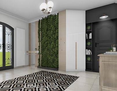 Hall d'entrée Mr & Mme M avec mur végétal