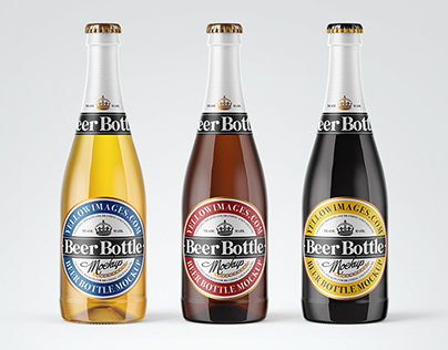 8 Water & Beer Bottles PSD Mockups
