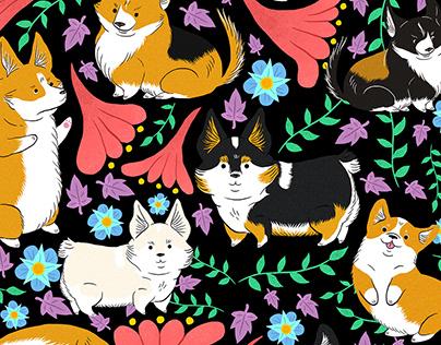 Corgi floral pattern