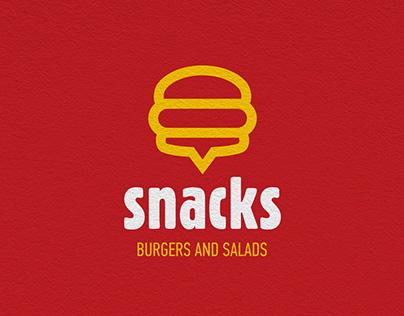 Snacks burgers and salads branding, packaging