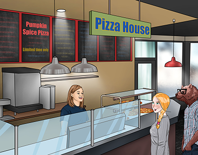 Children book illustration (Pizza House)