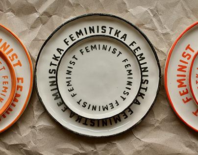 Ceramic plates with Feminist writing