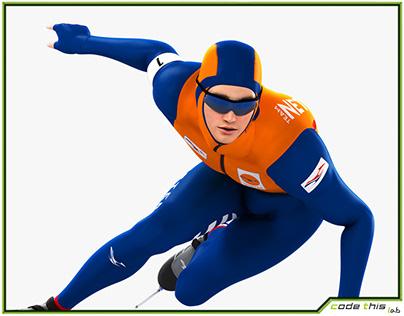 3D Model: Speed Skater Animated HQ