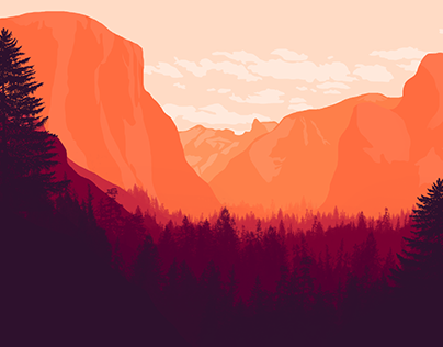 National Park Flat Landscape Illustrations