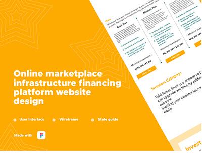 Online infrastructure financing platform website design