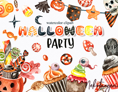 Watercolor Happy Halloween Pumpkins Candies Clipart