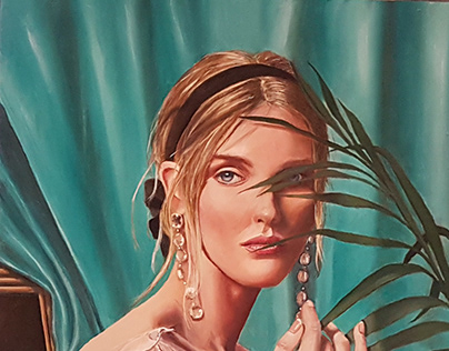 Girl with frond. Oil on panel 24x20 inches