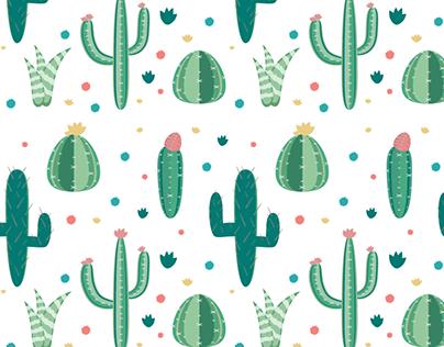 Pink and Green Cactus Pattern